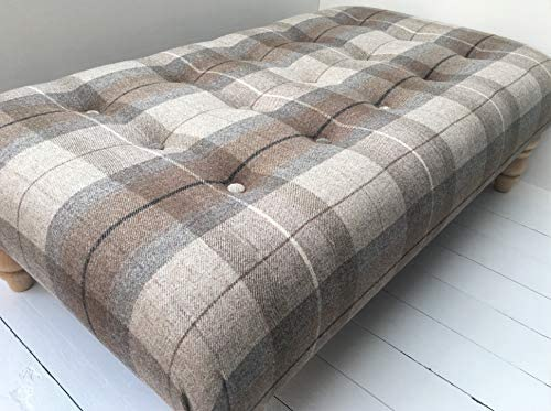Serrina Interiors NEW Large 105 x 62cm Handmade Buttoned Footstool in 100% Wool Eltham Mocha Tartan Fabric. Choice of Legs