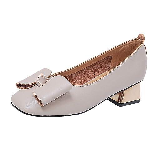 Huatime Mujer Zapatos de Tacón - Mocasines Cabeza Cuadrada Retro Boca Baja Color Sólido Arco Zapatos Perezosos Cómodos Trabajo: Amazon.es: Zapatos y ...