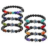 LOYALLOOK 8pcs Evil Eye Bracelet Lava Stone Beads Essential Oil Diffuser Bracelet For Men Women (8PCS)