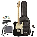 Sawtooth ST-ET-BKW-KIT-3 Electric Guitar, Black with Aged White Pickguard