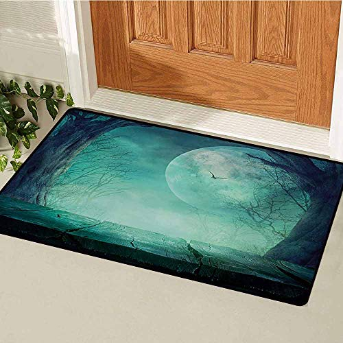 GUUVOR Halloween Commercial Grade Entrance mat Spooky Teal Forest Moon and Vain Branches Mystical Haunted Horror Rustic Imagery Print for entrances garages patios W47.2 x L60 Inch -