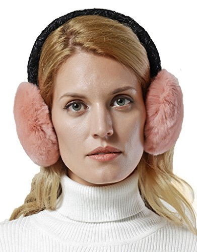 Women's Rex Rabbit Fur Embroidered Lace Band Earmuffs.