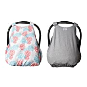 Baby Car Seat Cover - 2 Pack - Deluxe Canopy with Adjustable Straps, Front Access Panel, UV50 Sun Shield with Travel Bag - Heather Gray and Aster Blossoms - by Baby Hearts