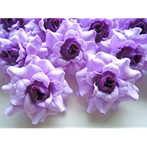 """(100) Silk Purple Roses Flower Head - 1.75"""" - Artificial Flowers Heads Fabric Floral Supplies Wholesale Lot for Wedding Flowers Accessories Make Bridal Hair Clips Headbands Dress 7"""