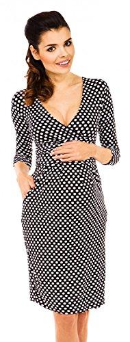 Zeta Ville - Womens Maternity 3/4 Sleeves Empire Dress - V-Neckline - 019c (Black with Dots, US 6, M)