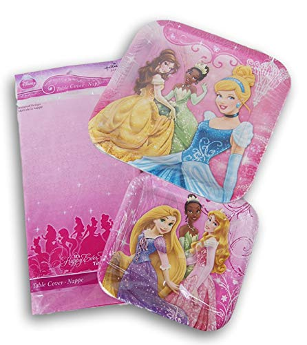 Disney Princess Themed Party Set - Dinner Plates, Dessert Plates, Tablecover -
