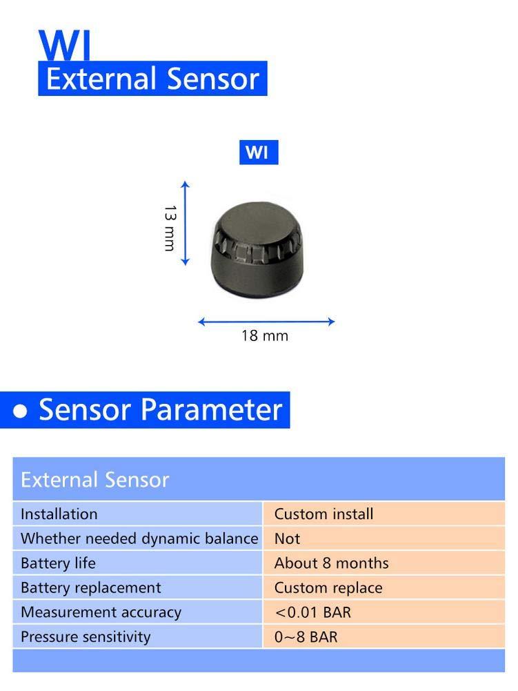 runnerequipment /Sistema di monitoraggio della Pressione dei Pneumatici per Moto Sistema di Protezione Solare Impermeabile Eccellente TPMS System M3