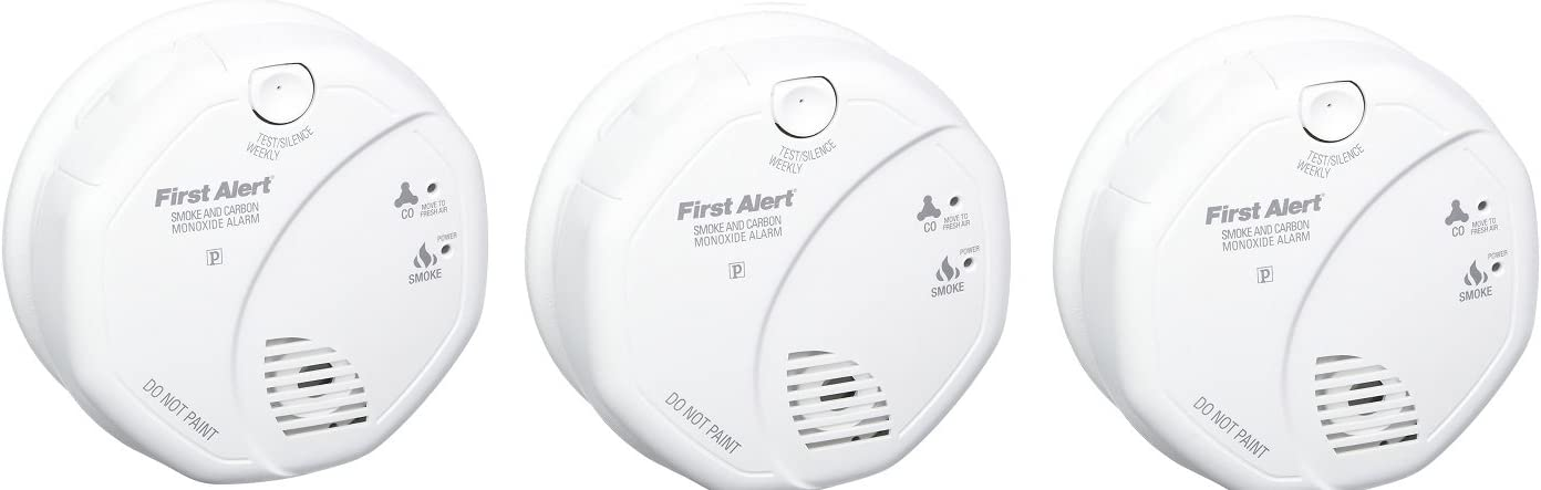 First Alert SCO5CN Combination Smoke and Carbon Monoxide Alarm, Battery Operated 3 PACK