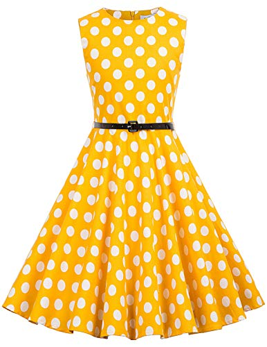 Floral Vintage Girl's Sleeveless Casual Party Dresses 11-12 Years Yellow Dot -