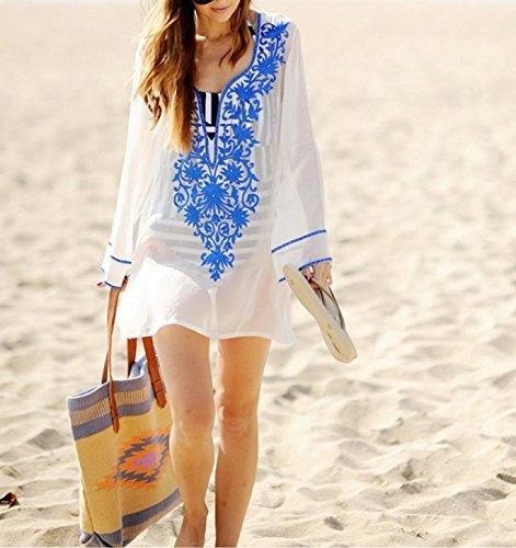 GenialES Pareo con Borlas Bikini Túnica Playa Verano Beach Bikini Swimwear Cover-up Talla única Blanco y Azul