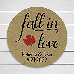 Fall in Love Kraft Brown Wedding Favor Stickers (#013-KR)