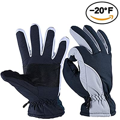 Winter Gloves, OZERO -20°F Cold Proof Thermal Ski Glove for Men & Women - Reinforced PU Palm and TR Cotton Insert - Water Resistant & Windproof - Denim-Frost/Berry-Red/Wine-Cream