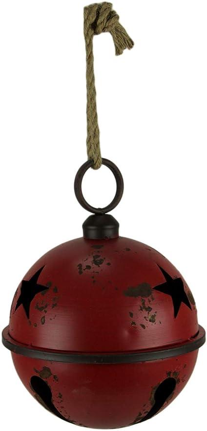 Things2die4 Rustic Red Metal Hanging Jingle Bell Ornament 10 Inch Diameter Home Kitchen