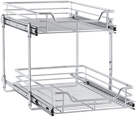 """519KfiYJEAL. AC Household Essentials C21521-1 Glidez Dual 2-Tier Sliding Cabinet Organizer, 14.5"""" Wide, Chrome    This sliding under cabinet organizer has 2 independently sliding tiers and is 14.5""""W x 21""""D x 15.5""""H. Household Essentials glidez dual slide under cabinet sliding organizers attach to the bottom of kitchen and bathroom cabinets to quickly bring the back of the cabinet in reach. Their 2-tier of baskets slide in and out of the cabinet independently, making the bottom basket easier than ever to get into. These industrial organizers are made from premium chromed steel, with thicker, stronger wire than the competition. The sturdy vertical glides 2 inches tall and support up to 88 lbs. Glidez organizers create a custom kitchen with organization that fits your cabinets' width, depth, and height. Organizers slide all the way out of the cabinet, clearing the door completely when installed as directed. This means less bending and reaching to get to whatever you store in your cabinets. Perfect for kitchen storage, bathroom, storage, and even closets and pantries (glidez organizers can attach to commercial shelving with cb2000-6 brackets, sold separately) tailor your cabinet space and bring the back of the cabinet to you with glidez under cabinet storage and organization. Dual slide glidez under cabinet organizers are 15.5 inches high and 21 inches deep. They are available in 11.5 and 14.5 inch wide options."""