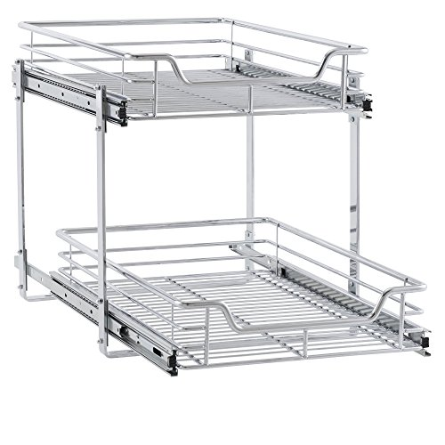 Household Essentials C21521-1 Glidez 2-Tier Sliding Organizer - Dual Pull Out Cabinet Shelf - Chrome - 14.5 Inches Wide