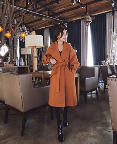 Long Coat Thickening Jacket Colour Caramel Autumn Female and It Section Tie Sleeves Fashion Knee Mei WYF Winter Lantern Zf7xvnq
