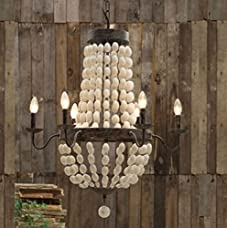 Iron Frame & Wood wooden Beads Chandelier 6 lights large fixture WOW