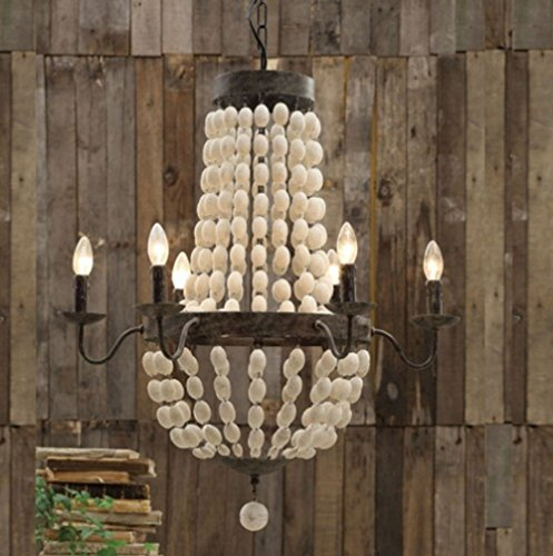 Iron Frame & Wood wooden Beads Chandelier 6 lights large fixture (Beaded Iron)