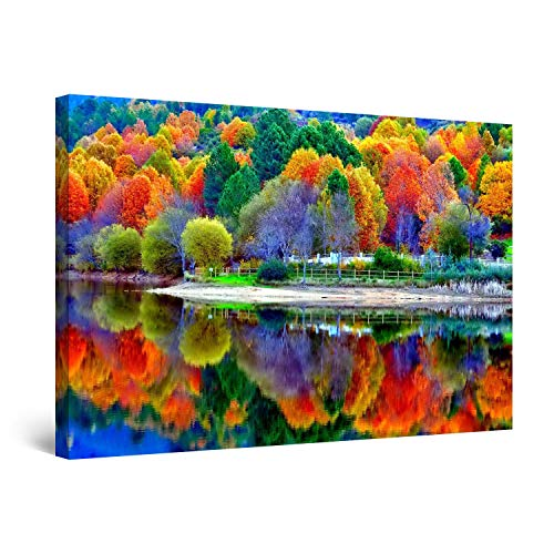 STARTONIGHT Wall Art Canvas of Forest Water Reflection, Nature Framed 24 x 36 Inches