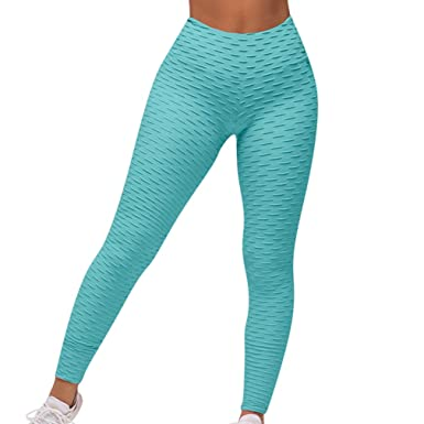 ca145e301e OMKAGI Women s Yoga Pants High Waist Workout Leggings Tummy Control Running  Activewear(S