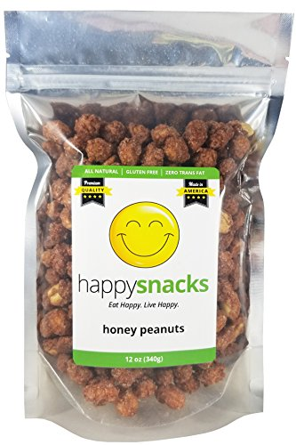 - Happy Snacks Honey Peanuts - Sweet & Crunchy Candied Peanuts Perfect for Snacking, Salads & Desserts - Resealable Pouch (12 oz)