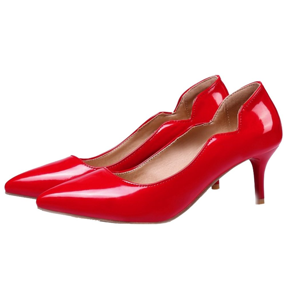 Smilice Women Plus Size US 0-13 Mid Heel Pointy Toe Colors New Dress Pumps 6 Colors Toe Available New B074RFM4Q7 30 EU = US 0 = 20 CM|Red 2 efad23