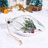 Clear Christmas Balls Ornament, Plastic Shatterproof Christmas Tree Pendant Decorative Xmas Balls Baubles Set with Stuffed Delicate Decoration (B)
