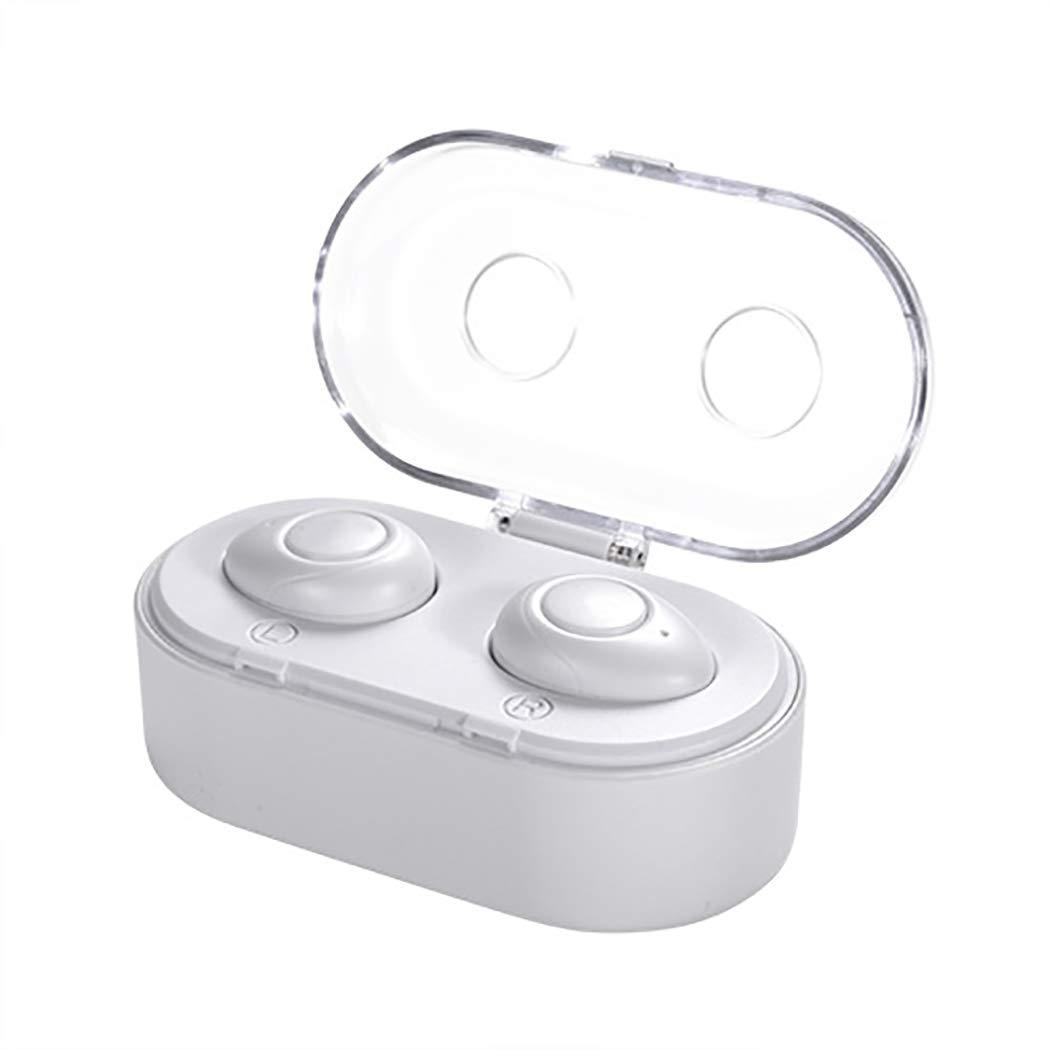 TLMYDD バイノーラルワイヤレスBluetoothヘッドセットビジネスミニ見えないBluetoothヘッドセット車 Bluetoothヘッドセット (色 : 白) B07PQCHTZS 白