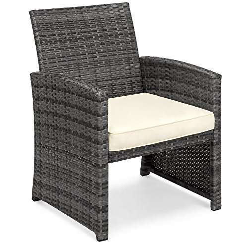 Best Choice Products 4-Piece Wicker Patio Conversation Furniture Set with 4 Seats and Tempered Glass Top Table, Gray