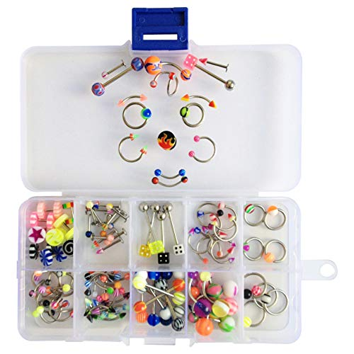 Oasis Plus Wholesale Lot 100pcs 15 Styles 14g 16g Mix Piercing Body Jewelry Kit Navel Belly Button Ring Tongue Nose Ear Rings Eyebrow Nipple Barbell