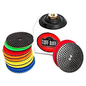 "TUFF BUFF - Wet/Dry Diamond Polishing Pads - 11 Piece Set with Rubber Backer for Granite, Stone, Concrete, Marble, Travertine, Terrazzo- 4"" Inch Pads"