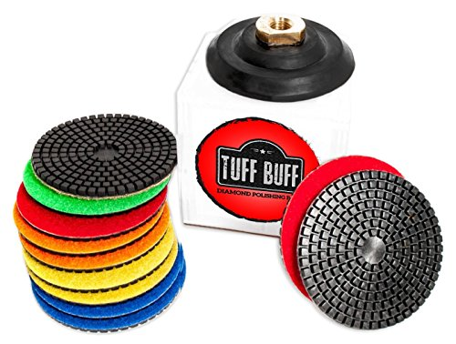 Diamond Polishing Pads - 11 Piece Set with Rubber Backer for Granite, Stone, Concrete, Marble, Travertine, Terrazzo- 4