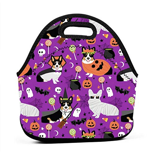 Tri-Colored Corgi Halloween Costumes Mummy Vampire Ghost Just Dog Purple Lunch Bag Insulated Thermal Lunch Tote Outdoor Travel Picnic Carry Case Lunchbox Handbags with -