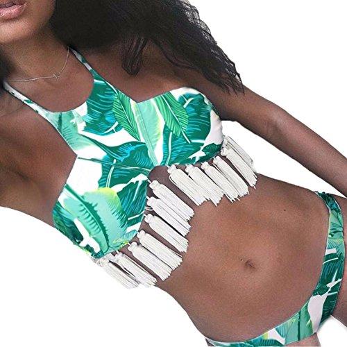 DELEY Mujeres Señoras Hoja Print Flecos Borlas Push Up Bikini Elegante Traje De Baño Ropa De Playa Swimwear Beachwear Bañador Verde
