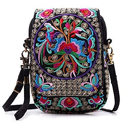 Amazon.com  Boho Bag Ethnic Embroidery Shoulder Bags Women Handbag ... 4bb6b2d1b0866