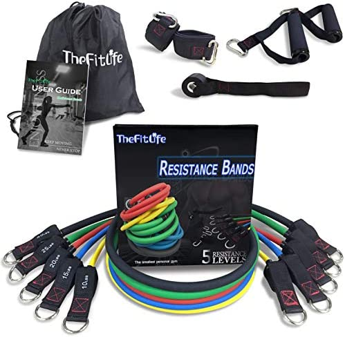 TheFitLife Exercise Resistance Bands with Handles - 5 Fitness Workout Bands Stackable up to 110 lbs, Training Tubes with Large Handles, Ankle Straps, Door Anchor Attachment, Carry Bag and Bonus eBook 9