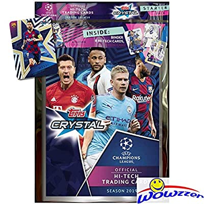 2019/20 Topps Champions League CRYSTAL Soccer Factory Sealed STARTER KIT with Collector Album, Checklist, 6 Card & LIONEL MESSI Limited Edition! TRANSPARENT HI-TECH Cards-Imported from Europe! WOWZZER