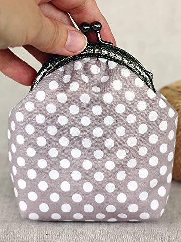 Key Chain Coin Purse Dot Small Zippered Pouch Grey Dots Coin Purse Polka Dots Change Purse Ear Bud Case Modern Change Purse
