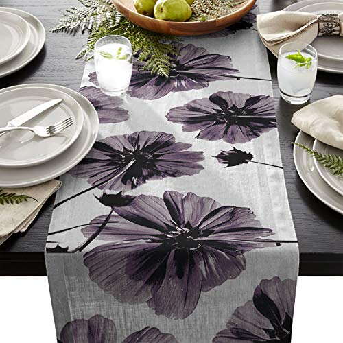 (Linen Burlap Table Runner Dresser Scarves, Vintage Art Purple Flower Kitchen Table Runners for Dinner Holiday Parties, Wedding, Events, Decor - 18 x 72 Inch)