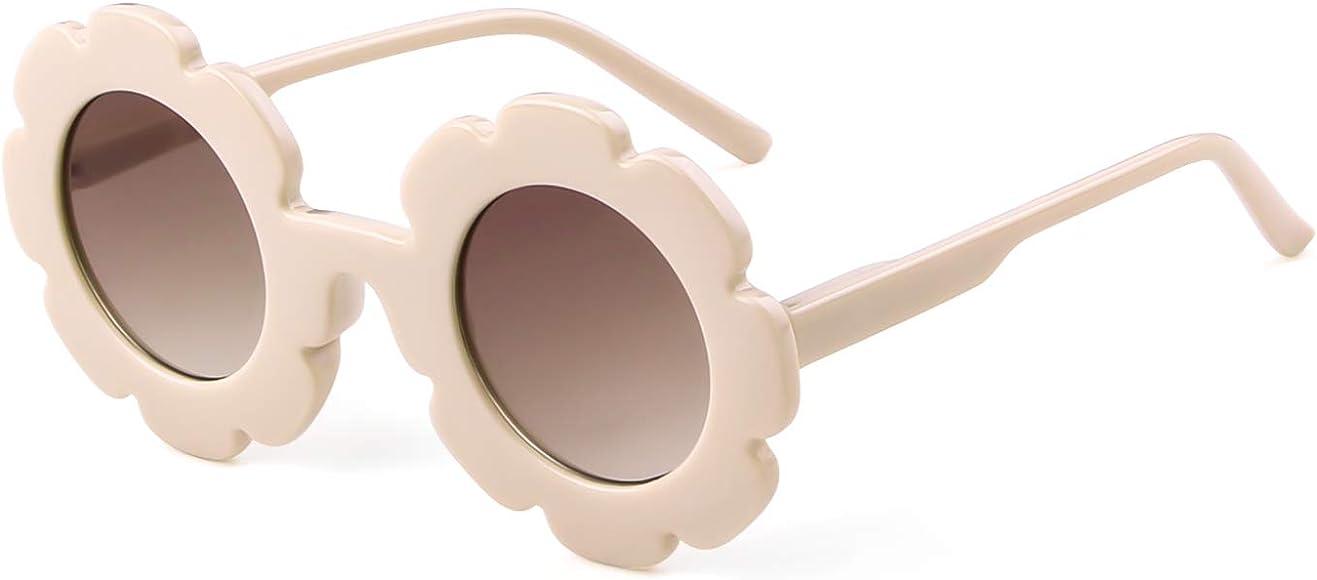 e80bb3121143 Sunglasses for Kids Round Flower Cute Glasses UV 400 Protection Children  Girl Boy Gifts