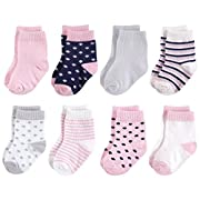 Touched by Nature Baby Organic Basic Socks, Navy Pink, 0-6 Months