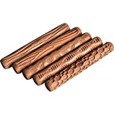 WINGOFFLY 4.7INCH Pottery Tools Wood Hand Rollers for Clay Clay Stamp Clay Pattern Roller(5PCS Set)