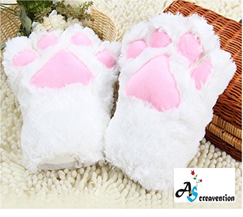 A&S Creavention Women Cat Bear Claw Paw Mitten Plush Glove Costume (White Kitty Cat Costume)