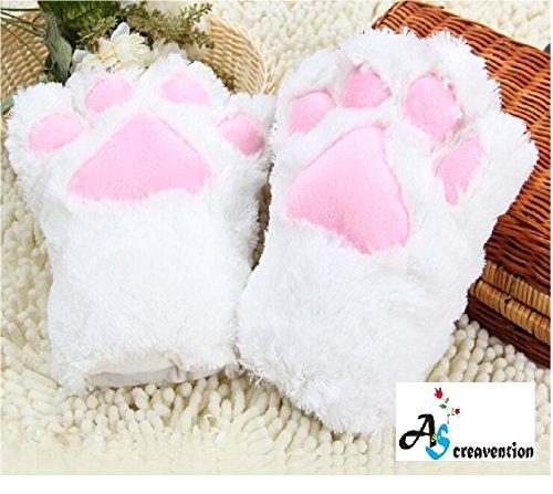 White Cat Costume Accessories (A&S Creavention Women Cat Bear Claw Paw Mitten Plush Glove Costume (White))