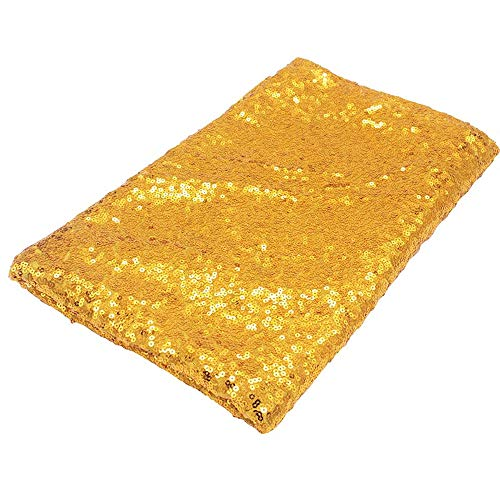 COOCOl Great Sequin Tablecloth Glitter Round Rectangular Embroidered Sequin Table Cloth for Wedding Cake Party Decoration,Gold,130Inch-330Cm Round