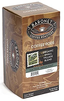 Baronet Coffee Fair Trade Organic Small Village Blend Coffee Pods Box, 54 Count