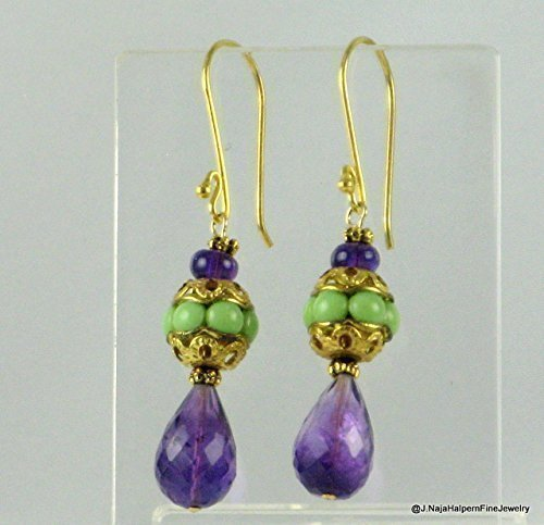 Amethyst Gemstone Earrings with Unique Antique Beads and 14K Gold fill 2 inches long. Optional Earring Necklace Set with Jade Necklace ASIN: B016BG0ADI. choose design A or B