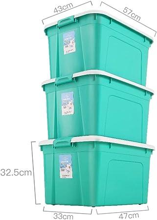YYHSND Recipiente de plástico Grande, Caja Transparente, contenedor apilable Fuerte - 3 Piezas Cesta de Almacenamiento (Color : Blue*3, Size : A): Amazon.es: Hogar