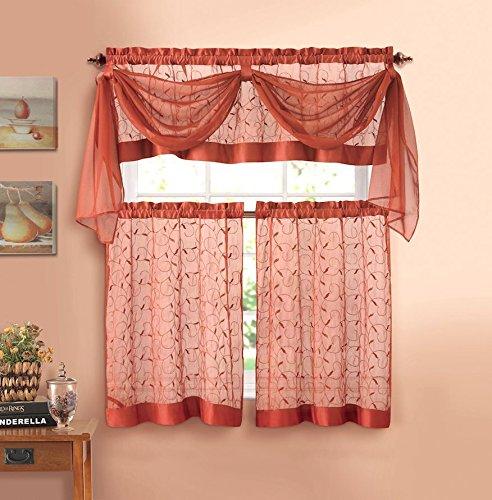 Linen Leaf Embroidered Sheer Kitchen Curtain Set