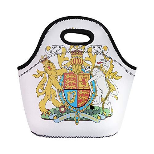 (Semtomn Lunch Tote Bag British Royal of Arms the United Kingdom Crown Flag Reusable Neoprene Insulated Thermal Outdoor Picnic Lunchbox for Men Women)